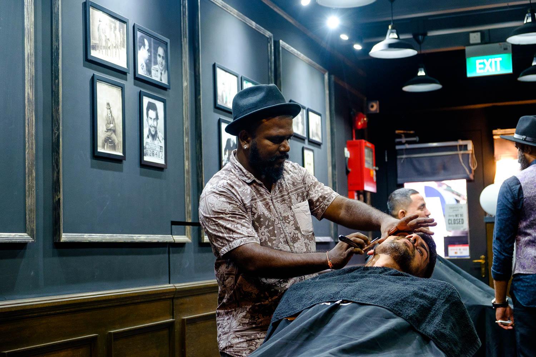 Sivani-Boxall-Germany-barber-shaving